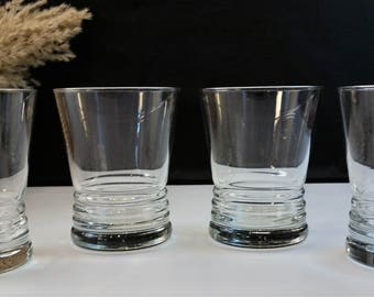 "OLD FASHIONED LOWBALL Horizontal Ribbed Whiskey Glasses "" On The Rocks ""  Set of 4 Vintage  1990's Barware"