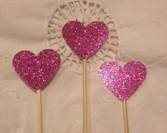 Hot Pink Glitter Heart  Cupcake Cake Toppers - Wedding, Birthday, Event. Set of 10
