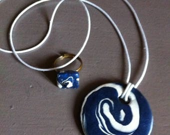matching ring and polymer clay pendant necklace