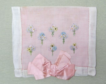 Vintage hanky case with embroidered flowers and silk ribbon bow, 1920's hosiery pouch