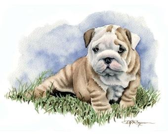 BULLDOG PUPPY Art Print Signed by Artist DJ Rogers