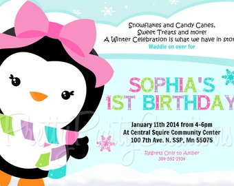 Girl Winter PENGUIN invitation - with or without photo - U PRINT