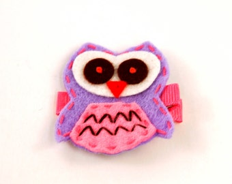 Lavender Owl Applique on Hot Pink Ribbon Hair Clip