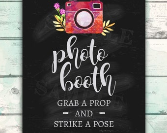 Photo Booth Sign, Grab a Prop and Strike a Pose, Photo Booth Printable, Cute Wedding Sign, Chalkboard Wedding Sign, DIY Wedding Printable