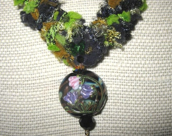 ON SALE: Handknit designer yarn necklace with lampwork focal bead and Swarovski crystal accents