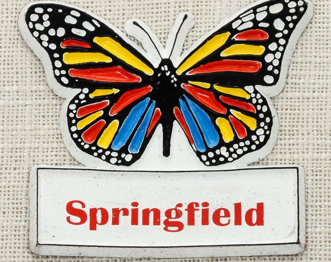 SPRINGFIELD Vintage Butterfly Magnet Illinois Massachusetts Ohio Travel Tourism Gift Made in USA America Fridge Rainbow Locker School 5S