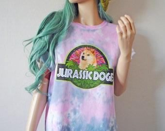 Jurassic Doge Tie Dye T-Shirt cute dog gift meme shiba inu pastel goth tumblr harajuku