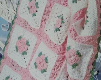 Vintage Crochet Sweet Baby Afghan blanket instant download crochet pattern
