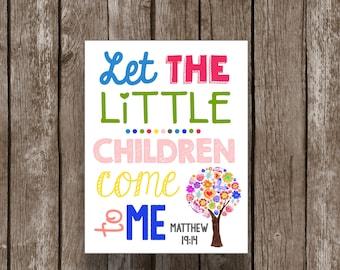 50% OFF SALE Watercolor Scripture Art - Wall Artwork - Bible Verse - Matthew - Kids Decor - Nursery - Christian Printables