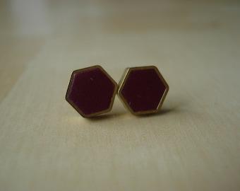black currant mini brass hexagon stud earrings