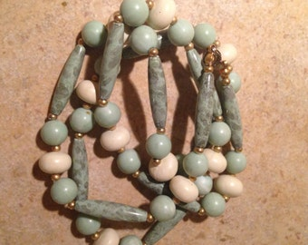 Pretty Marbelized Aqua Bead Necklace