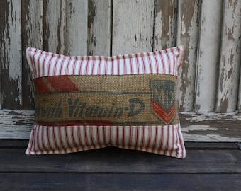 Vintage Master Mix Feed Sack Pillow | Grain Sack | Feedsack | Grainsack | Feedsack Pillow | Red Ticking Pillow
