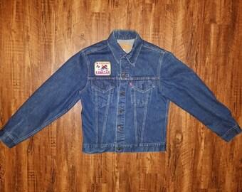 Single Stitch 70s LEVIS 70505 0217 Denim Jacket w/ KAWASAKI Patches