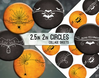 Halloween 2.5 Inch and 2in Circle Digital Collage Sheet Download Printable Images for Gift Tags Cards Scrapbooking JPG