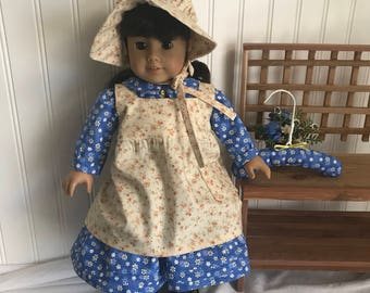 Laura Ingalls from Little House on the Prairie Costumes for 18 inch Girl Doll, Handmade Doll Clothes, MADE TO ORDER