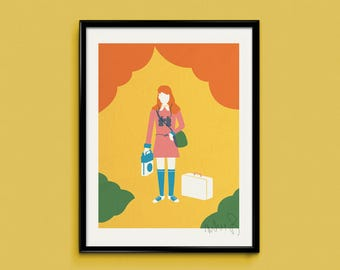 Moonrise Kingdom (Suzy) 30x40cm 3 colour screen print