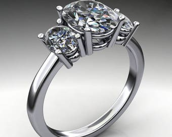 addison ring - 2 carat oval NEO moissanite engagement ring, 3 stone ring