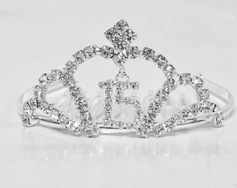 Quinceanera Mis Quince Anos Tiara Corona Sweet 15 Birthday Princess Mini Crown 3""