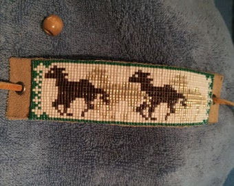 Running Horses, Native American Inspired, Cream and Brown with Green, Loom Beaded Leather Bracelet - Men's or Women's