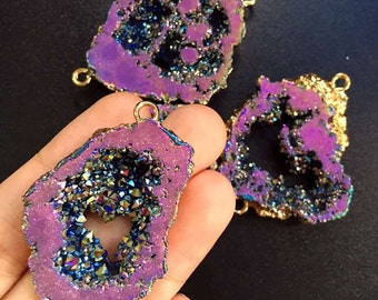 SALE Mystic Purple Rainbow Druzy Quartz Titanium Crystal Geode Druzy Double Bail Connector Pendant with Electroplated Gold (F5W2-05)