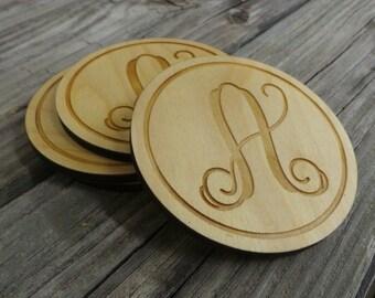 Monogram Wooden Coasters - Personalized Wooden Coasters - Wedding Gift - Housewarming Gift - Set of Four Wooden Monogram Coasters