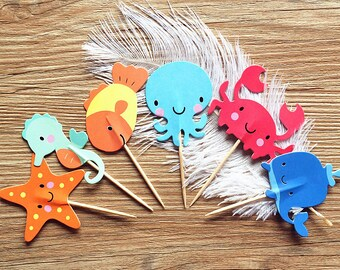 Sea Themed Ocean Animals Cupcake Toppers - Party Picks - Starfish, Seahorse, Fish, Octopus, Crab, Whale