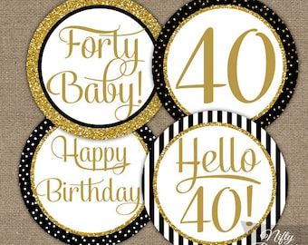 Navy Blue 40th Birthday Cupcake Toppers Blue White 40th