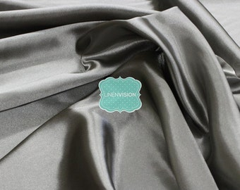 "Fabric by the Yard - Shiny Bridal Satin Fabric - Medium Weight 100% Polyester 60"" Wide Satin Fabric - Grey"