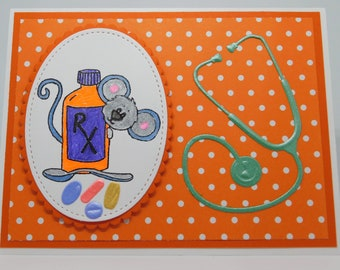 Orange Dots, Mouse, and Meds Get Well Card