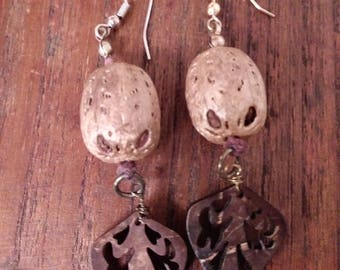 Gold tone Asian Nut with Wooden Leaf Earrings