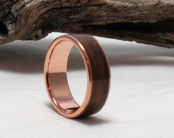 Copper Ring with Rosewood Inlay, Bentwood Ring. Copper Wood Ring, Copper Wedding Band, Wood engagement ring, Womens Copper Ring, Mens Ring