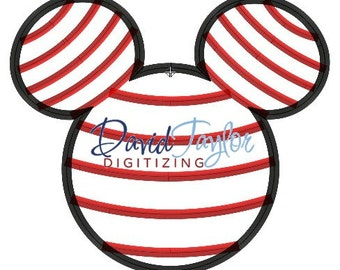 Mickey Head - Candy Cane - Embroidery Machine Design - Applique - Instant Download - David Taylor Digitizing