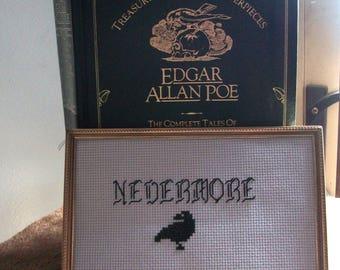 Nevermore Edgar Allan Poe cross stitch Raven pattern