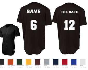 Save The Date Custom Baseball Jersey Number Style Couples Jersey Shirts Sport-Tek® PosiCharge™ Tough Mesh Full-Button Baseball Jersey St220