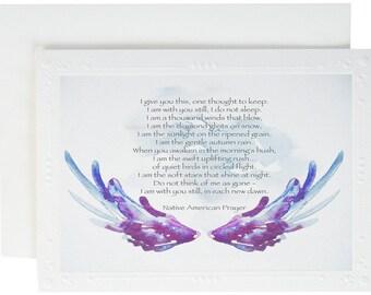 Serene Prayer - Sympathy Card - Native America - Angel Wings Art Card - Spiritual Gift  - Spiritual Card - Serbe Prayer - Native Prayer