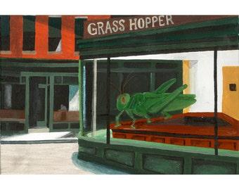 Grass Hopper // Edward Hopper insect pun art - art print