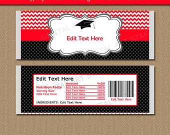 Graduation Candy Wrapper Template, Chocolate Bar Wrappers Thank You, 2018 Graduation Party Favors, Red and Black Chevron Printables G3
