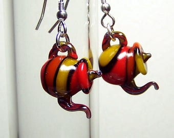 Harlequin stripes tea tiny transparent glass teapots dangling earrings on 925 sterling silver earwires