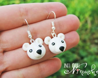 Polar bear earrings winter polymer clay (fimo) cute baby animals animal ice funny Moose girl Christmas gift idea