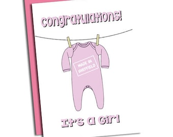Congratulations it's a Girl 'Made in Sheffield' New Baby Card