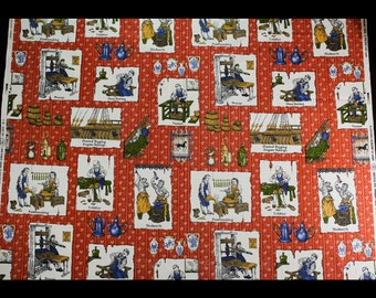 """Novelty Print Cotton Canvas Fabric - Over 2 Yards x 57"""" - 1960s Colonial Craftsmen Scenes - Cobbler - Blacksmith - Glass Blowing - 49766"""