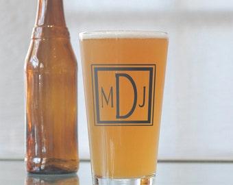 Custom square monogram, screen printed glassware, pint glasses