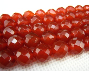 stone bead,carnelian faceted round bead 10mm,15 inch