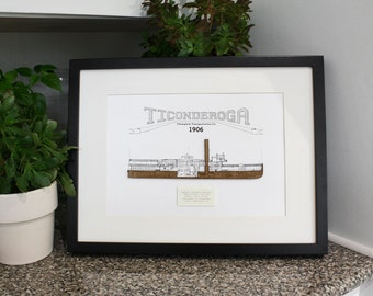 Steamboat Blueprint, Ticonderoga Blueprint, Nautical Decor, Laser Cut Wood, Boat Blueprint Decor, Nautical Wall Art, 8x10 or A4
