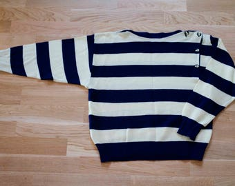 Vintage 80s nautical striped knit sweater