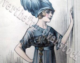 Vintage Edwardian Costume Print - French Costume Print - Blue 1910s Costume Print - Vintage Woman Fashion Print
