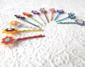 Floral hair pins, colorful bobby-pins, mini flower hair accessory, set of 3
