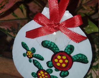 Hand Painted Shell Christmas Ornament