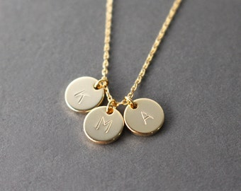 Initial Necklace - little gold disc initial necklace - gold initial necklace