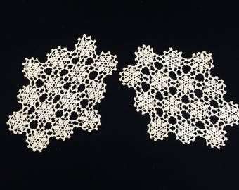 Crocheted Doilies. Crochet Lace Doilies. Two Vintage Lace Doilies. A Pair of Vintage Crocheted Ecru Lace Identical Oblong Doilies RBT3029